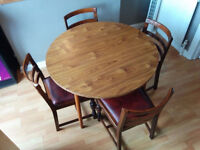 Dining Table Drop Leaf With 4 Real Leather Chairs