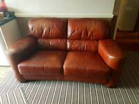 Scs leather sofa 2 chairs and Pouffe