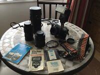 PRAKTICA MTL 3 Camera, VIVITAR 70 - 150 zoom lens , MAKINO28 - 80 wide angle Macro lens, access,