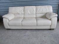 Large Cream Leather 3+2-seater Suite (Sofa)