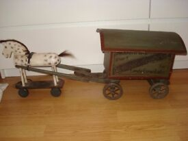 wooden horse and wagon