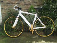 Beautiful single speed aluminium bike, white frame gold wheels- almost new