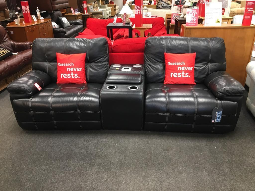 Bhf Excellent Black Leather Sofa With