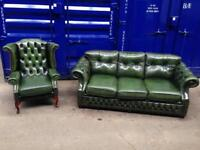 IMMACULATE 🎉🔥2 piece suite genuine leather chesterfield wingback Queen Anne 3 seater sofa green