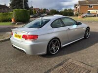 Silver BMW 335D SE Autovogue Coupe (2007), Full black leather, Electric seats, Paddle shift, 360 BHP