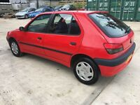 Peugeot 306, low mileage, long mot, 4 x new tyres, new exhaust, cambelt/waterpump changed
