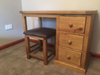 Solid Pine Dressing Table with Leather Stool