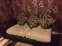 Dark Brown and Beige Leather Sofas