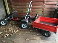 Grant pedal go kart with tipping trailer
