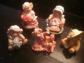 FIVE GENUINE CHERISHED TEDDIES.
