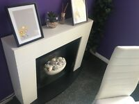 White modern electric fire place