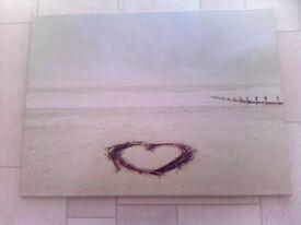 DELIGHTFUL CANVAS OF HEART ON BEACH