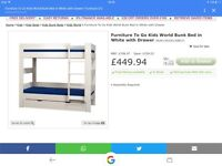 Kids World bunk bed - extra high, separates into 2 singles. NEW BOXED