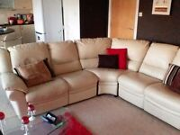 5 seater cream leather corner sofa with two end recliners