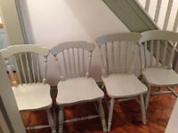 4 painted wooden dinning / kitchen chairs