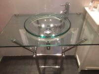 Designer glass bathroom sink in chrime frame with mixer tap and waste, excellent condition