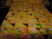 Grande Courtepointe Jaune multicolore et motifs