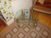 Clear glass 3 shelf TV stand