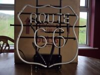 ROUTE 66 NEON SIGN IN AS NEW CONDITION AND CONVERTED OVER TO 240 V FITTINGS