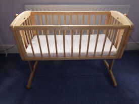 Mothercare Swinging Crib with Mattress & Cot Bumper