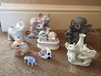 Collection Of 8 China Elephant Ornaments.