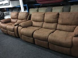 New/Ex Display 3 Seater Recliner Sofa + 2 Seater Recliner Sofa
