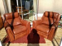 Vintage PARKER KNOLL RECLINER LEATHER CHAIRS.