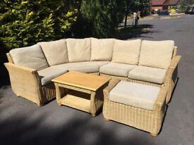 Corner sofa, table and footstool