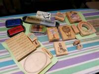 Rubber stamps and ink pads for hobby craft and card making
