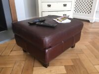 Brown leather effect footstool / pouff