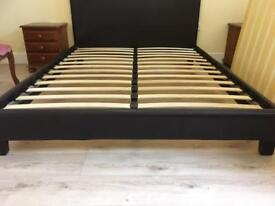 King size faux leather bed and mattress