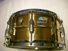 """Ludwig LB552 seamless polished bronze snare drum 14 x 6 1/2"""" - Blue/Olive, Chicago - early '80s"""