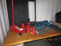 car jack, 4 axle stands and 2 car ramps