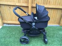 I candy Peach 3 Stroller and Carrycot - Jet Black