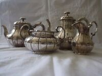 Silver plated coffee and tea service, Georgian. Consists of tea pot, coffee pot, sugar bowl and jug