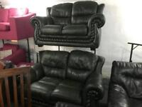 2 stunning top quality chesterfield 2 seater leather sofas