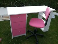 Child's pink and white desk with pink swivel chair.