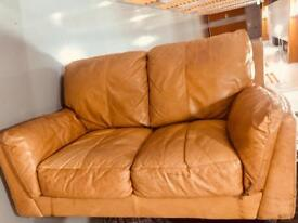 Tan real leather couches/sofas 3+2 seater