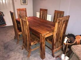 Solid Hardwood Dining Room Table with 6 chairs
