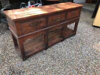 Large chunky solid oak sideboard
