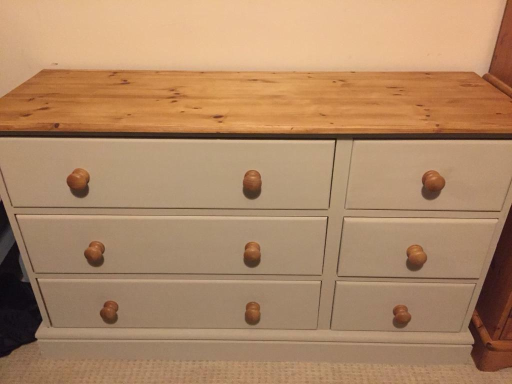 Solid pine painted 3 x 3 chest of drawers