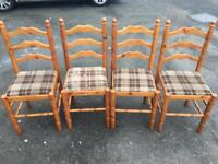 Set Of 4 Solid Pine Farmhouse Chairs