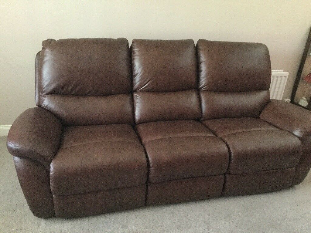 Lazy Boy 3 seater leather sofa manual recliner   in Comber ...