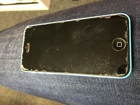 Apple iPhone 5c Blue, locked to EE, screen slightly cracked