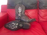 NEWROCK M.7928 S1 Silver Studs New Rock Punk Gothic Cowboy Riding Boots Mens size 8