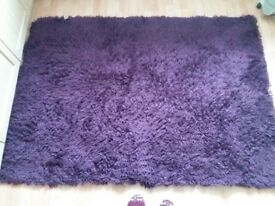 Large Purple Shag Rug - Good Condition - 190cm x 140cm