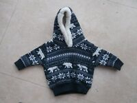 Boy's fleecy jumper with hood - brand new with label