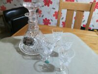 Cut glass Sherry decanter and glasses