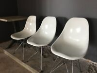 3 contemporary white designer Eiffel dining room / side chairs