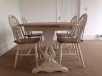 Large Extending dining table with 4 chairs,Oak Refectory style , Shabby Chic.extends to 8ft